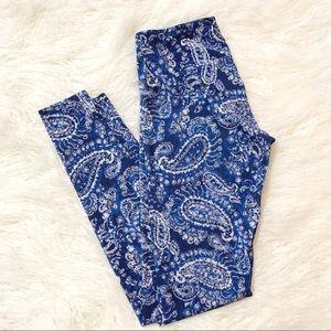 Onzie Blue Paisley Leggings S/M